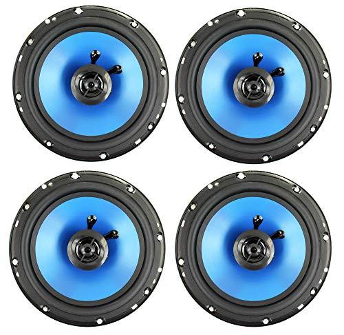 QPower 6.5' 300W 2-Way Blue Car Audio Stereo Coaxial Speaker Set, 4pk   QP650