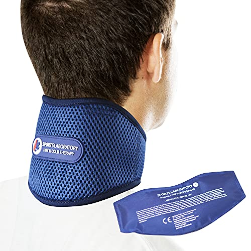 Sports Laboratory Neck Support Brace PRO+ for Neck Pain with Integrated Hot & Cold Therapy Pack   Adjustable Cervical Collar   Free Neck Pain Guide (Regular (11-17 inch))