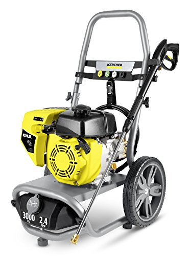 Karcher 11073860 G3000 XK Gas Pressure Washer, 2.4 GPM Tank Size Oversized 12 in, Flat-Free Wheels for Easy maneuvering, Gray/Yellow