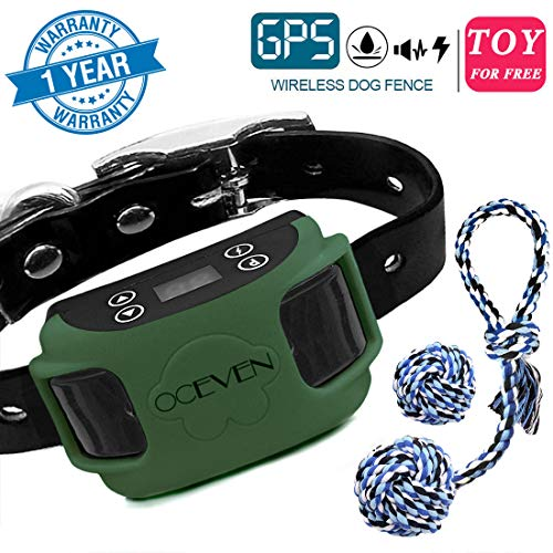 OCEVEN Wireless Dog Fence System with GPS, Outdoor Pet Containment System Rechargeable Waterproof Collar EF851S, Dark Green, for 15lbs-120lbs Dogs with 2pcs Toys for Free