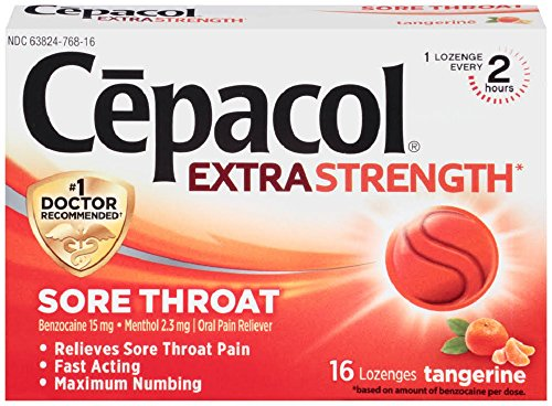 Cepacol Extra Strength Lozenges with Benzocaine & Menthol, Sore Throat, Sore Mouth, Pain Relief, Tangerine Cough Drops, 16Count