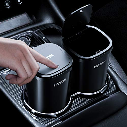 Car Trash Can, HOTOR Car Trash Cup with 30 Additional Car Trash Bags for Exclusive Using, Multipurpose Trash Can for Car, Office & Home to Meet Various Needs - 2 Packs