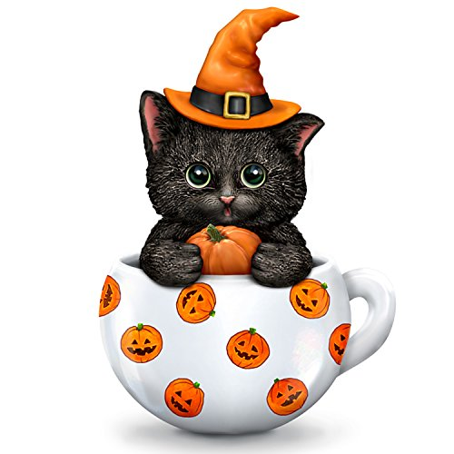 The Hamilton Collection Kayomi Harai Halloween Cat in Teacup Collectible Figurine