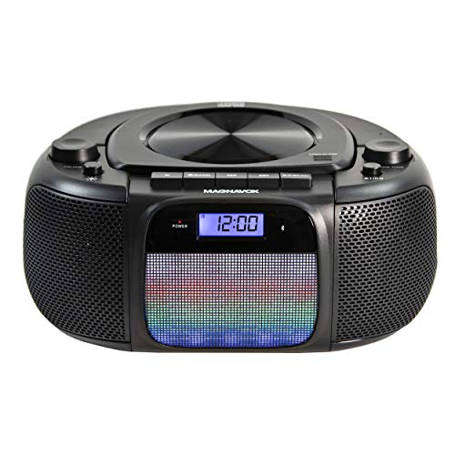 Magnavox MD6972 Portable Top Loading CD Boombox with Digital AM/FM Stereo Radio, Color Changing Lights, and Bluetooth Wireless Technology | CD-R/CD-RW Compatible | LCD Display |