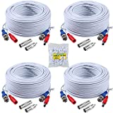 ANNKE 4 Pack 30M/100ft All-in-One Video Power Cables, BNC Extension Security Wire Cord for CCTV Surveillance DVR System Installation, Free BNC RCA Connector and 100pcs Cable Clips Included (White)