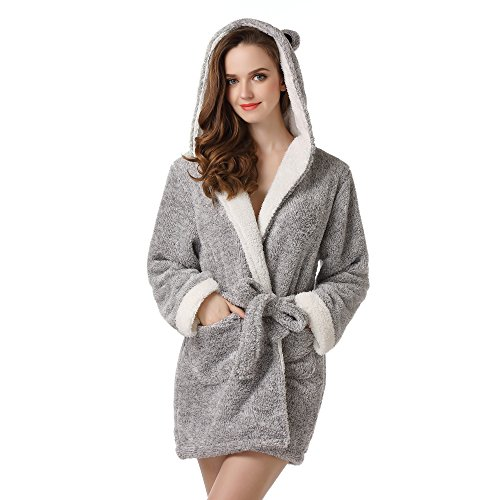 Richie House Women's Soft and Warm Bathrobe Robe With Ears RHW2498,Grey,Small / Medium