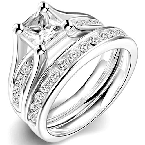 2.0 Carat Princess Cut Wedding Engagement Ring, 925 Sterling Silver and Stainless Steel (Stainless-Steel, 3)