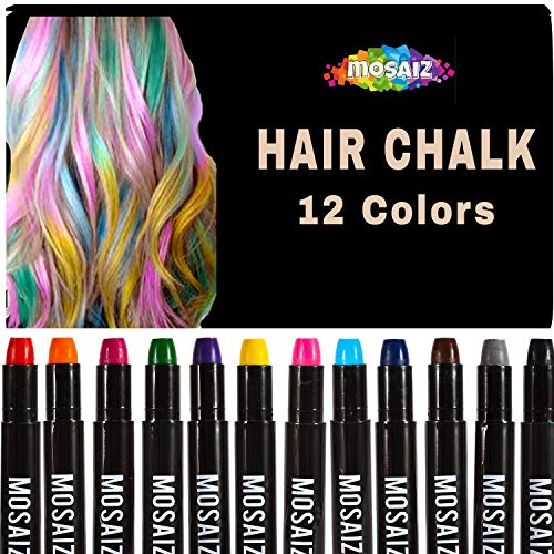 Hair Chalk for Girls and Boys 12 Colors with Black and Brown Washable Temporary Hair Color for Kids, Great Birthday Gift For Girls Age 4 5 6 7 8 9 10 11, Face Paint Party, Girl Gifts,Christmas, Spa