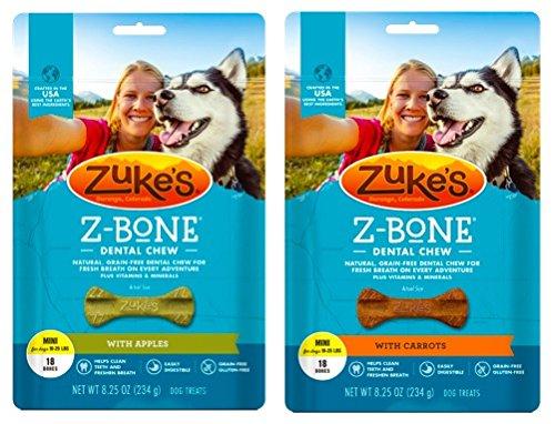 Zuke's Z-Bones Natural Grain-Free Dental Chew Mini (Pack of 2), Apple and Carrot - 36 Chew Bones Total