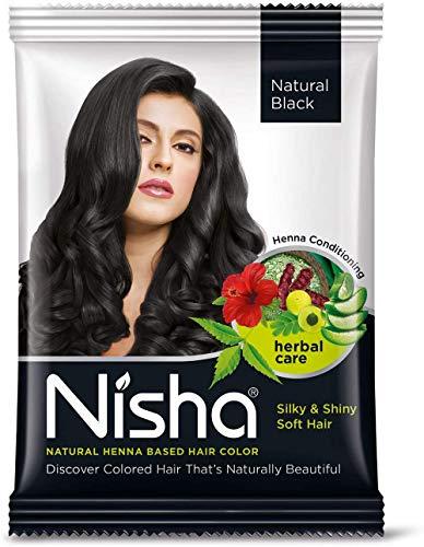Nisha Natural Henna Based Hair Color (Natural Black) 10GM Pack of 10