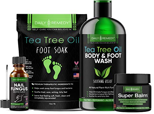 4 IN 1 FOOT CARE Treatment Kit, Made in USA, Includes Tea Tree Body Wash, Tea Tree Oil Foot Soak, Anti-Fungal Skin Balm and Toenail Fungus Remover - Get Rid of Bad Odor, Fungi and Athletes Foot.