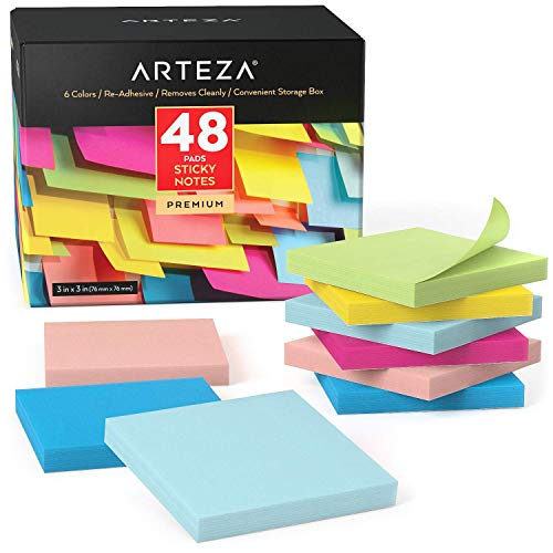 ARTEZA Sticky Notes 3x3 Inches, 48 Writing Pads, 100 Sheets Per Pad, Back to School Supplies, Assorted Colors, for Reminders, Studying, Office, and Home