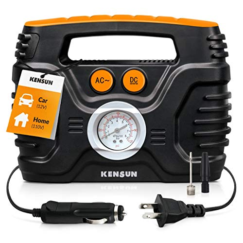 Portable air Compressor Electric tire Pump with Analogue Pressure Gauge for Home (110v) and Car (12v), with Additional adapters for Cars, Trucks, Bicycles, Balls | max 120 PSI