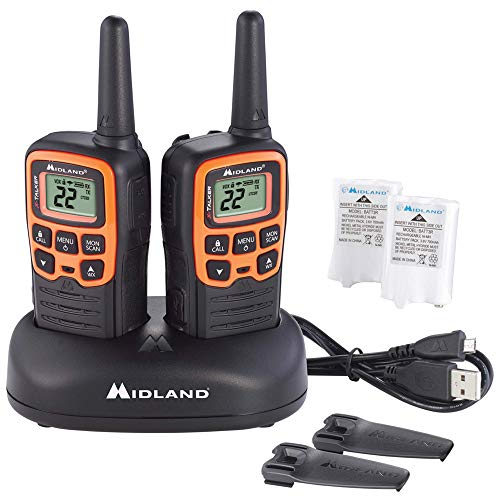 Midland - X-TALKER T51VP3, 22 Channel FRS Two-Way Radio - Extended Range Walkie Talkies, 38 Privacy Codes, NOAA Weather Alert (Pair Pack) (Black/Orange)
