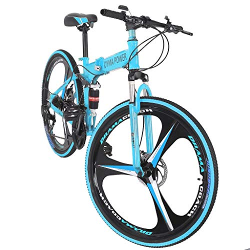 26in Folding Mountain Bike Blue 21 Speed Bicycle Full Suspension MTB Bikes for Men/Women