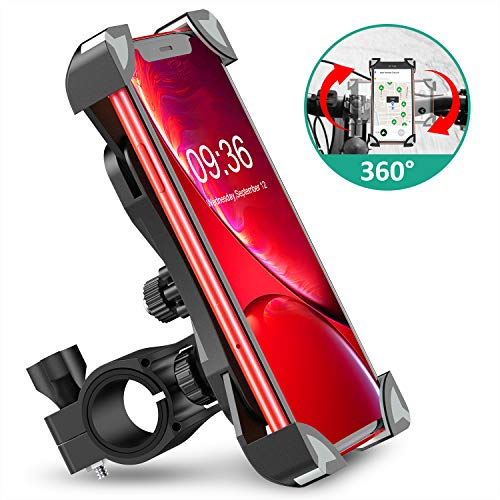 Bovon Anti-Shake Bike Phone Mount, 360¡ã Rotation Universal Bicycle Motorcycle Phone Mount Holder Stand Cradle Clamp Compatible with iPhone 11 Pro Max/X/XR/XS MAX/8/7 Plus, Samsung Galaxy S10/S10e/S10
