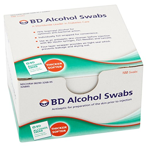 BD Alcohol Swabs 100 Each (Pack of 8)