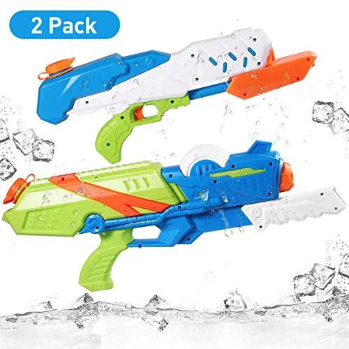 iBaseToy Water Gun for Kids, 2 Pack Water Blaster Squirt Guns,1000CC/ 570CC High Capacity Water Soaker Blaster Squirt Toy Water Pistols for Adults Boys Girls Children Pool Beach Sand Water Fighting