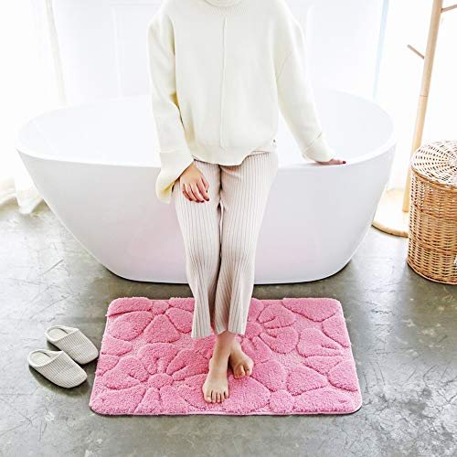 Chaseyoung Curved 3D Bathroom Rugs with Anti-Slip Back Thick Super Soft Absorbant Plush Machine Washable Mirofiber mat (30'x18', Rose Flower)