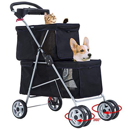 BestPet Pet Stroller Dog Stroller Cat Stroller Llightweight Two Tier 4 Swivel Wheels Aluminum Frame Mesh Ventilation Puppy Jogger Stroller Carrier Cart Travel Camping with Cup Holder,Black