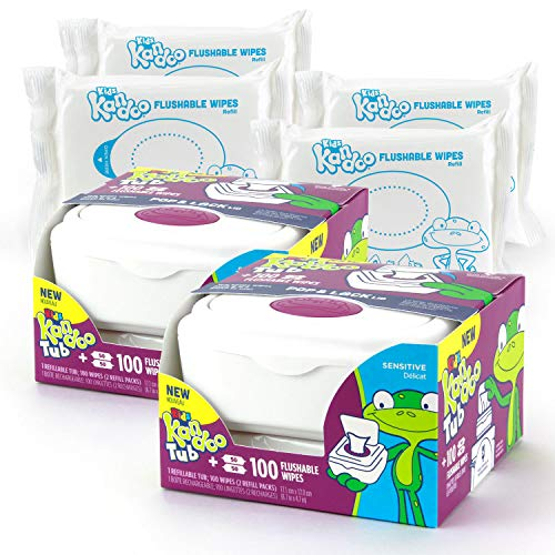 Kandoo Flushable Wipes for Babies and Kids - 100 Count Tub (Pack of 2)