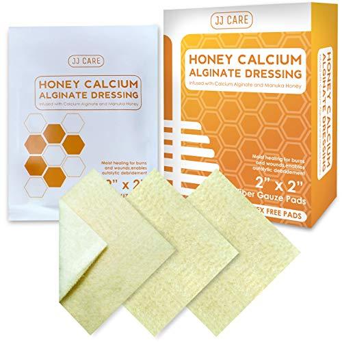 "JJ CARE Honey Calcium Alginate Dressing 2""x 2"" [Box of 10] Honey Wound Dressing with Calcium, Honey Patches for Faster Wound Care, Medical Grade Honey Bandages for Burns, Latex Free"