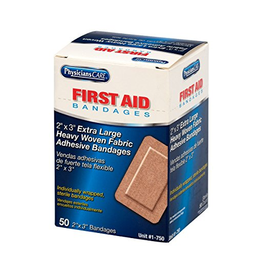 First Aid Only 1-750 2' x 3' Heavy Woven XL Bandages, 50 Per Box, Package may vary