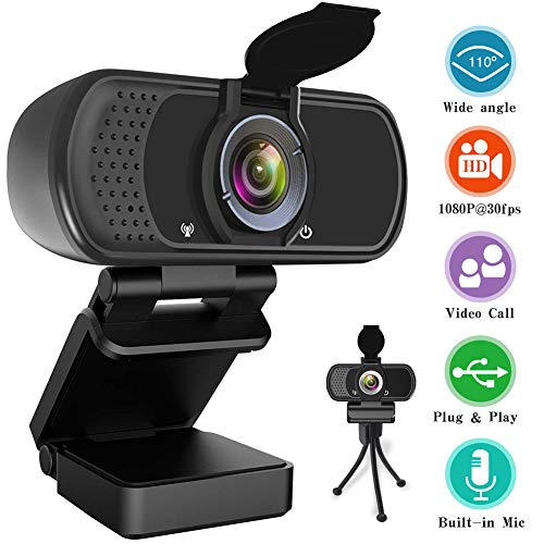 HD Webcam 1080P, USB Desktop Laptop Camera with110-Degree View Angle, Digital Web Camera with Stereo Microphone, Stream Webcam for Video Calling and Recording with Webcam Cover and Tripod