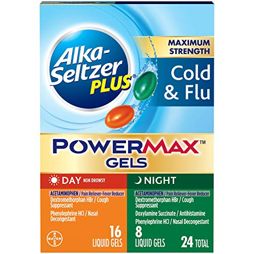 Alka-seltzer Maximum Strength PowerMax Gels with Acetaminophen, Day + Night Cold and Flu Medicine for Adults, 24 Count