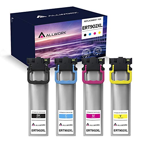 ALLWORK Remanufactured Ink Pack Ink Cartridge Replacement for Epson 902XL T902 T902XL to use with Workforce WF-C5210, WF-C5290, WF-C5710, WF-C5790 High Yield (Black, Cyan, Magenta, Yellow, 4 Pack)
