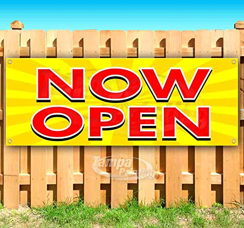 Now Open 13 oz Heavy Duty Vinyl Banner Sign with Metal Grommets, New, Store, Advertising, Flag, (Many Sizes Available)