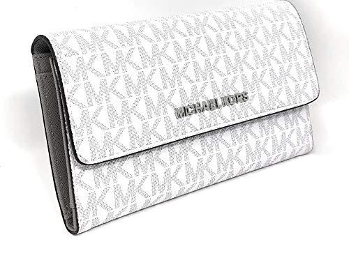 Michael Kors Jet Set Travel Signature Large Trifold Wallet Bright White
