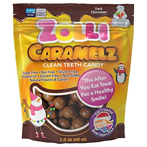 Zollipops Holiday Zolli Caramelz Clean Teeth Candy (3 Ounce ) - Dark Chocolate, - Holiday, 3 Ounce