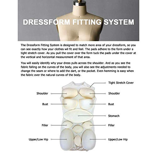 Adult Female Dress Form Padding System for Professional Dress Forms (12 Piece Set)