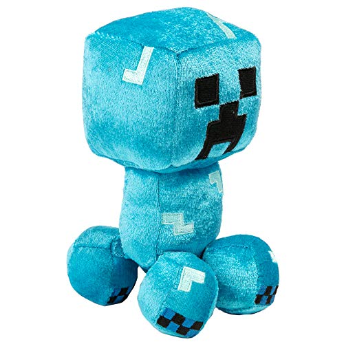 JINX Minecraft Happy Explorer Charged Creeper Plush Stuffed Toy, Blue, 7' Tall