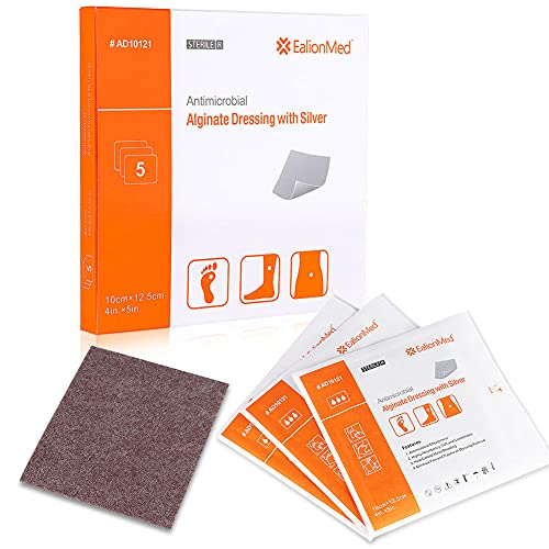 Silver Calcium Alginate Wound Dressing Pad, 4''x5'' Patch, High Absorbency Non-Stick Ag Gauze for Pressure Ulcer,Bed Sore,Leg Sore,Diabetic Foot Ulcer, 5 Packs