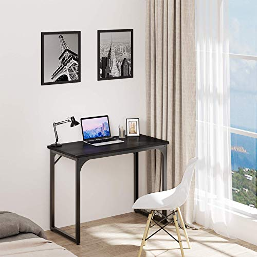 YITAHOME Computer Desk 39' Modern Sturdy Office Desk PC Laptop Desk Study Writing Table for Home Office Workstation Black