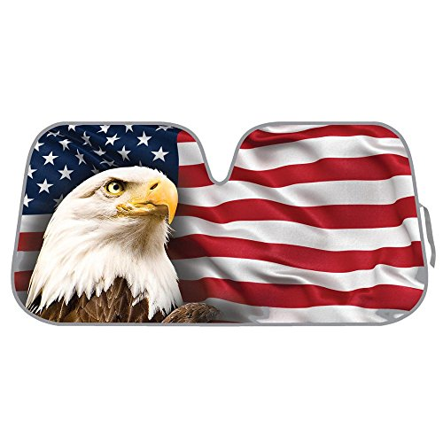 USA Patriotic American Eagle Flag Front Windshield Sun Shade - Accordion Folding Auto Sunshade for Car Truck SUV - Blocks UV Rays Sun Visor Protector - Keeps Your Vehicle Cool - 58 x 28 Inch