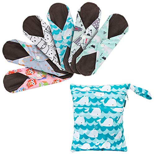Teamoy 6Pcs 8 Inch Reusable Sanitary Pads, Cloth Menstrual Pads Washable Period Pads with Charcoal Bamboo Absorbency Layers, Fit for Light Flow (Cute Whale, Small)