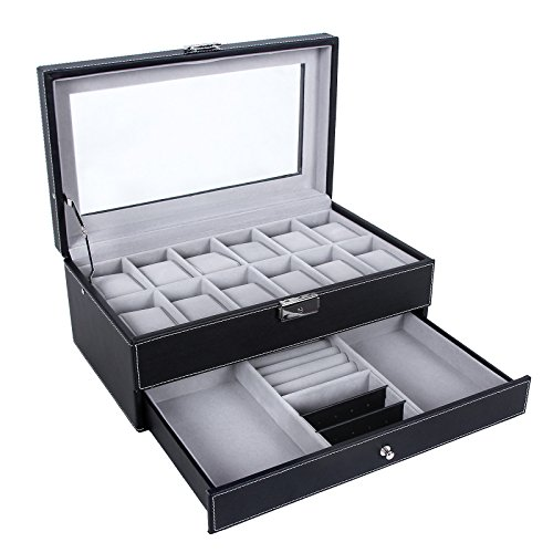 SONGMICS Watch Box 12 Mens Watch Organizer Jewelry Display Case with Lock and Keys Black UJWB012