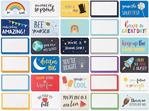 Pack of 60 Lunch Box Notes for Kids, Colorful Inspirational & Motivational Cards for Boys, Girls & Child's Lunchbox