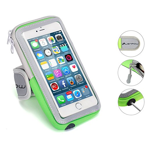 LENPOW Multifunctional Outdoor Sports Armband Sweatproof Running Armbag Casual Arm Package Bag Gym Fitness Cell Phone Bag Key Holder for iPhone 12 11 Pro Max XS X Plus Samsung Galaxy Note S20 S10 Edge