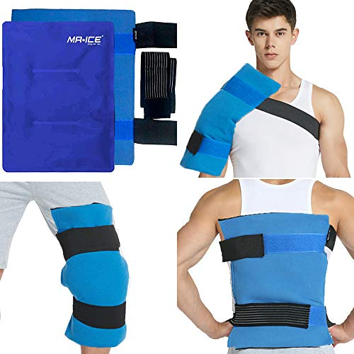 MR.ICE Large Gel Ice Pack Wrap for Injuries, Hot & Cold Therapy with Elastic Straps - Flexible Compress for Hip Surgery, Back & Shoulder Aches, Knee Replacement, Muscle Pain Relief - 11' x 14'
