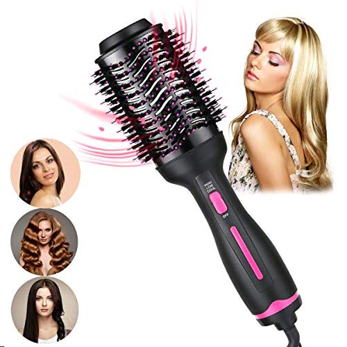 Hair Dryer Brush-Hot Air Brush, Professional Hair Dryer & Volumizer 3 in 1 Upgrade Anti-scald Negative Ionic Technology Hair Straightener Brush with Smooth Frizz and for All Hair Types