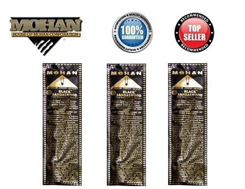 Mohan Incense Black Sandalwood Scents Pack 250 Sticks (9.2 Inches Tall) - Makers of the World Famous Khush Scent - Premium Pure Charcoal Incense Hand Rolled in the Finest Herbs, Spices, Oils, Honey, and Sandalwood Powder