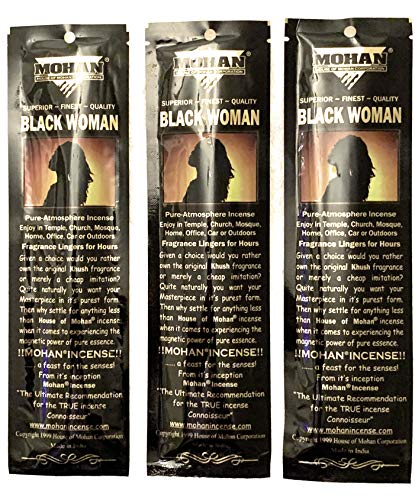 Mohan Incense Sticks -Black Woman Pack of 250 Sticks (9.2 Inches Tall) - Makers of The World Famous Khush (Kush) Scent - Premium Pure Charcoal Incense Hand Rolled