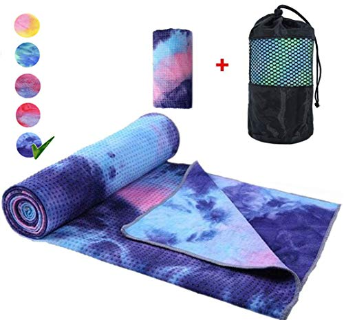 WeYingLe Yoga Mat Towel Non Slip Suede Luxurious Foldable Mat Hot Yoga Towel,Sweat Absorbent, for Hot Yoga, Bikram, Pilates (Tie-Navy)