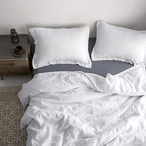 Simple&Opulence 100% Linen Duvet Cover Set with Embroidery Stone Washed - 3 Pieces (1 Duvet Cover with 2 Pillow Shams) with Button Closure Soft Breathable Farmhouse - White, California King Size