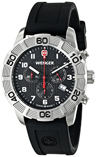 Wenger Men's 01.0853.101 Roadster Chrono Stainless Steel Watch With Black Silicone Band