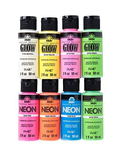 FolkArt Neon Glow Acrylic Paint Set, 2 oz, 8 Fl Oz